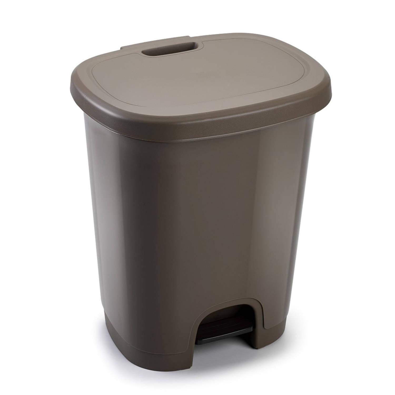 Kunststof Afvalemmers/vuilnisemmers/pedaalemmers In Het Taupe Van 27 Liter Met Deksel En Pedaal. 38