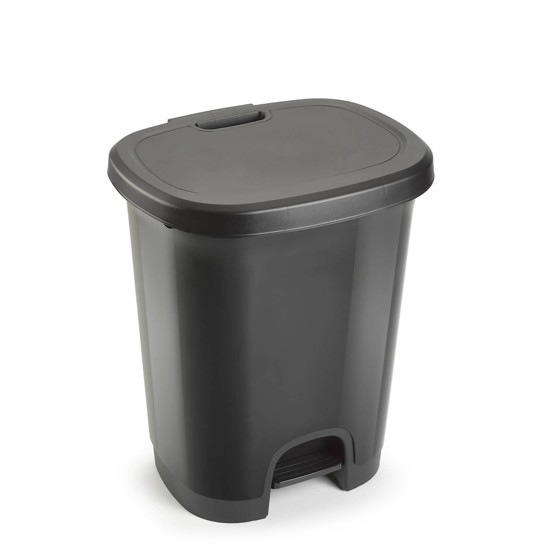 Kunststof Afvalemmers/vuilnisemmers/pedaalemmers In Het Donkergrijs Van 27 Liter Met Deksel En Pedaa