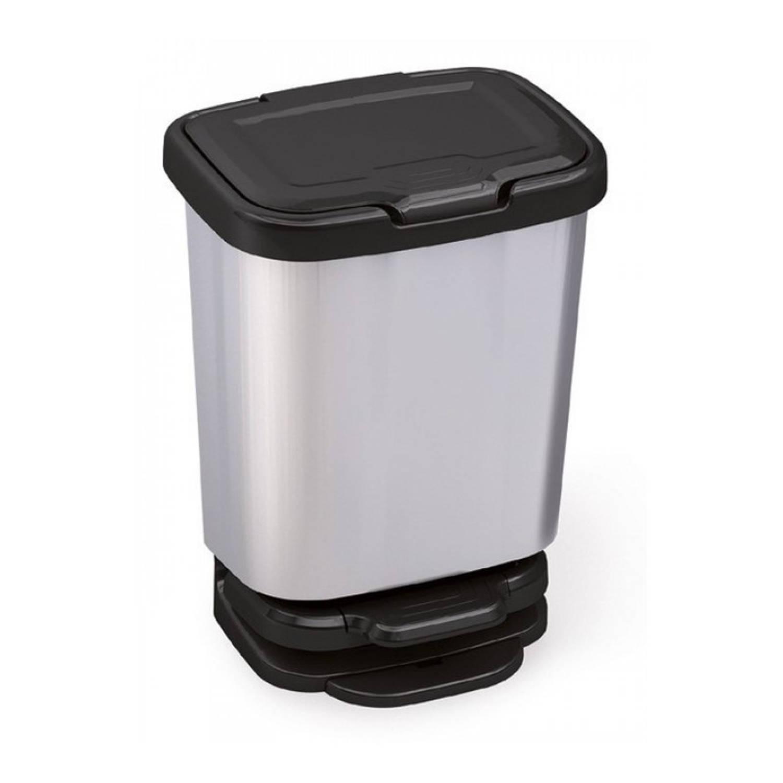 1x Zilver/grijze Pedaalemmer/vuilnisbakken 45 Cm 20 Liter - Afvalemmers Badkamer/toilet/keuken