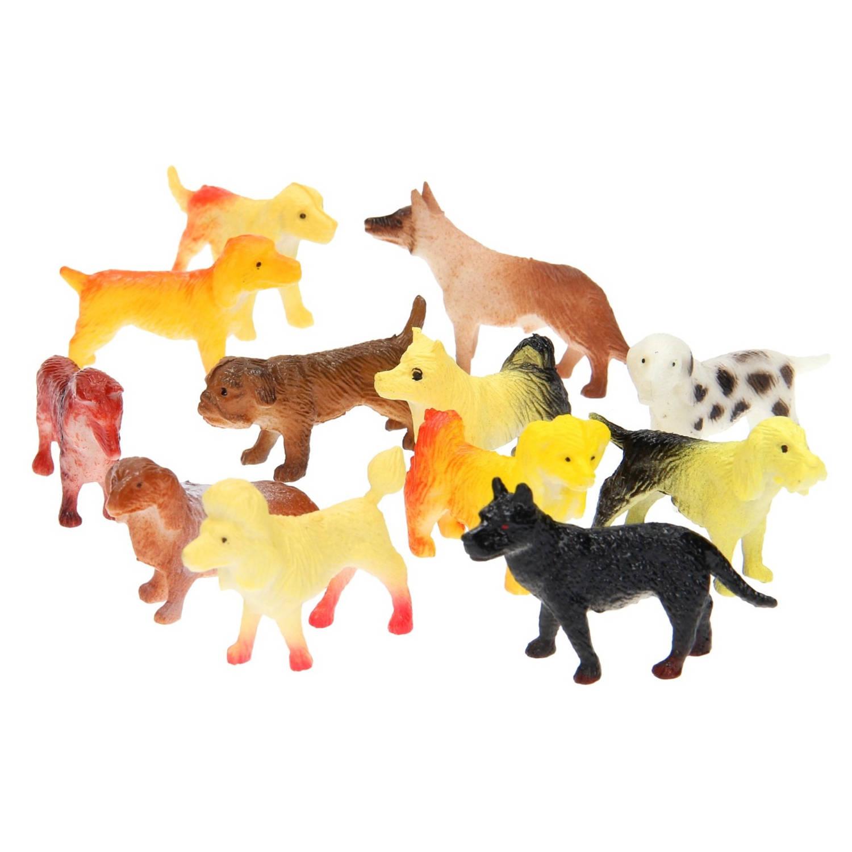 Korting Lg imports Speelfiguren Honden Junior Rubber Geel bruin 12 Stuks