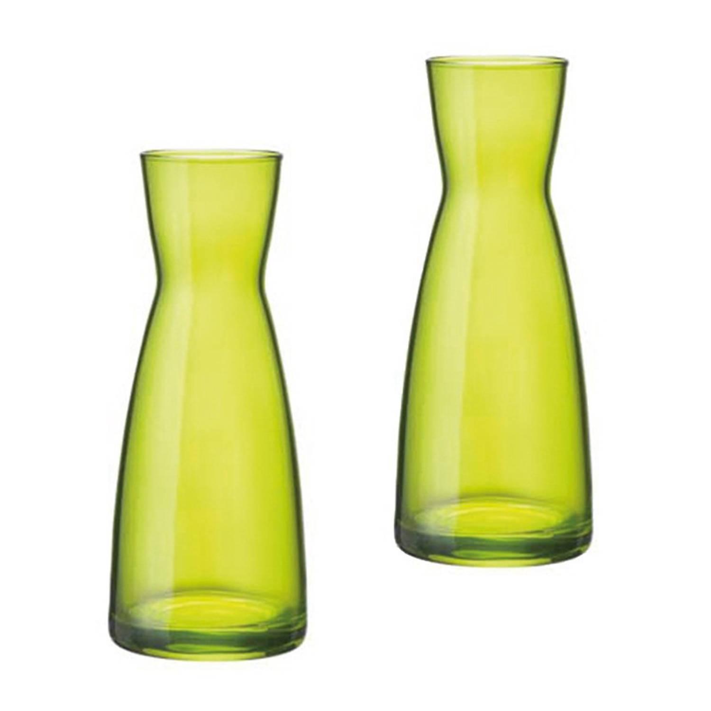 Image of Set Van 2 Stuks Groene Karaffen Of Vazen 20.5 Cm Van Glas - Bloemen Vazen Groen