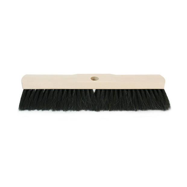 Zachte houten binnenbezem zwarte haren 40 cm - Binnenbezems