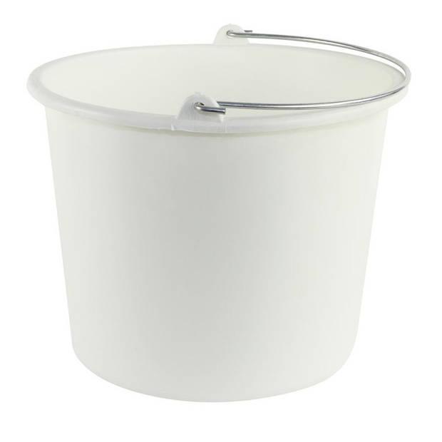 1x Huishoudemmers kunststof 12 liter wit - Schoonmaaklemmer - Schoonmaken/reinigen - Wasemmer