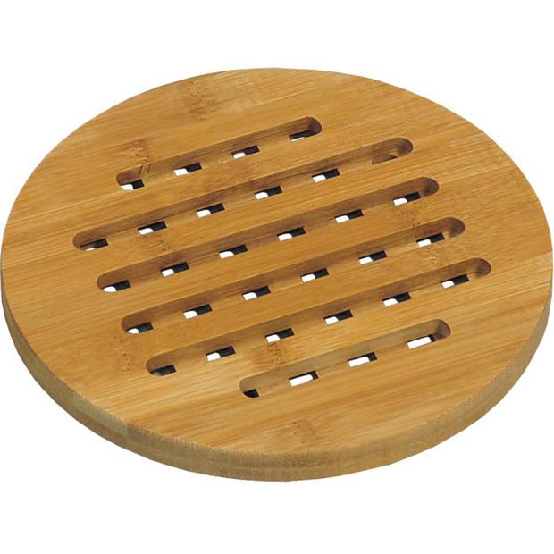 Ronde pannen onderzetter van bamboe 19 cm - Rond - Onderzetter voor pan - Houten onderzetters
