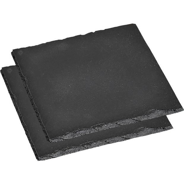 2x Pannen onderzetters van leisteen 20 x 20 cm - Vierkant - Onderzetter voor pan - Leistenen onderzetters set