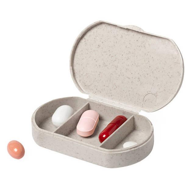 1x Medicijnen doos/pillendoos 3-vaks bamboevezel 6 cm - Reisformaat - Drogisterij/persoonlijke verzorging accessoires