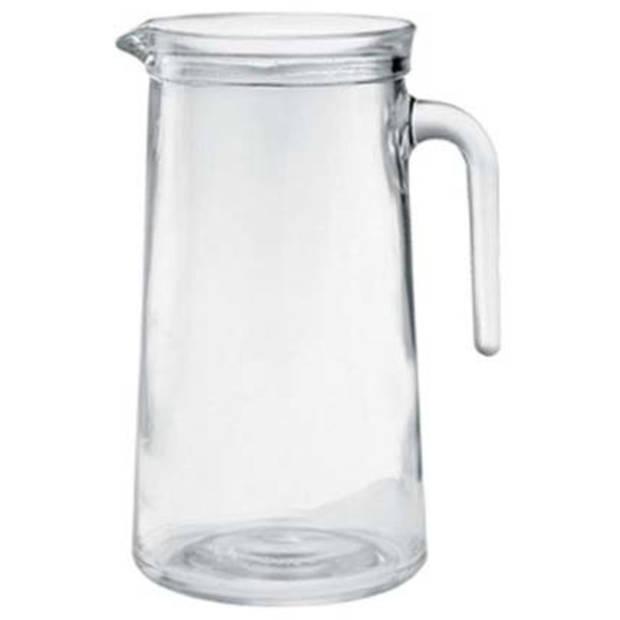 1x Glazen water karaffen van 1,1 L Atelier- Sapkannen/waterkannen/schenkkannen