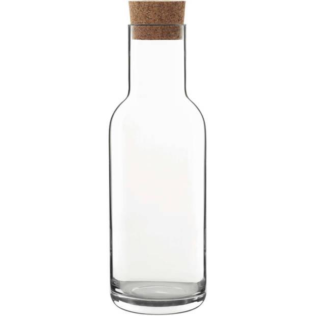 1x Glazen water karaffen met kurken dop van 1 L Sublime- Sapkannen/waterkannen/schenkkannen - luchtdicht - foodsafe