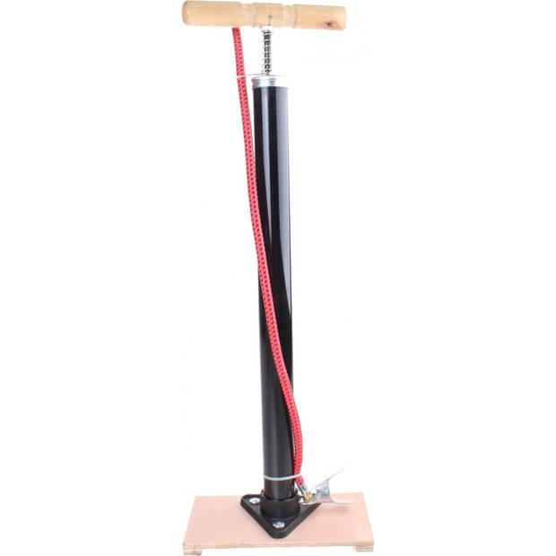 Zwarte fietspomp staand met houten handvat en voet - Fietsaccessoires - Universele staande fietsbandenpomp - Fietspompen