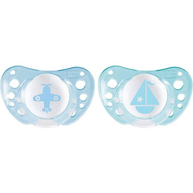 Chicco fopspeen Physio Air junior siliconen blauw/wit 2 stuks