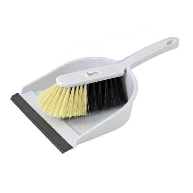 Stoffer en blik set grijs kunststof - Huishoud/schoonmaakproducten - Huishouding - Schoonmaken - Bezem/veger
