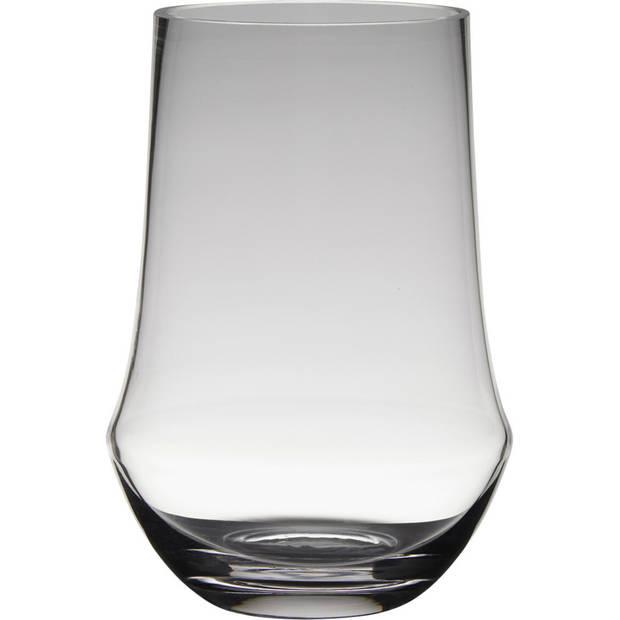 Transparante luxe stijlvolle vaas/vazen van glas 25 x 17 cm - Bloemen/boeketten vaas voor binnen gebruik