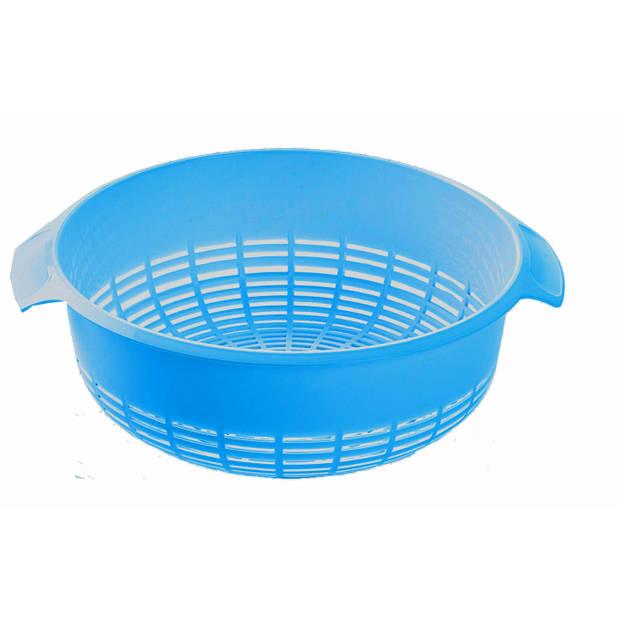 1x Kunststof vergiet aqua blauw - 37 x 23 x 9 cm - Plastic vergieten keuken accessoires