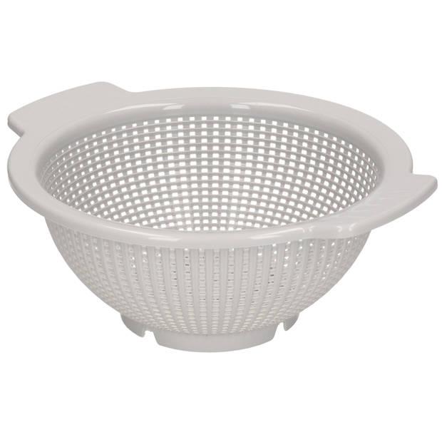 Kunststof keuken vergiet lichtgrijs 27 x 24 x 10 cm - Plastic vergieten keuken accessoires - Afgieten