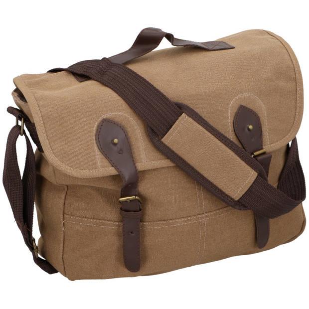 Canvas schoudertas donker bruin - Vintage reistassen/weekendtassen/schoudertassen - Tassen voor dames/heren/volwassenen