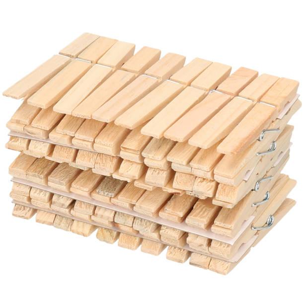 50x Wasknijpers naturel van hout - Huishouding - De was doen - Was ophangen - Wasknijpers/wasgoedknijpers/knijpers hout