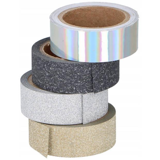Scrapbook zelfklevend tape / washi tape met glitters - 4 rollen - DIY hobby materiaal