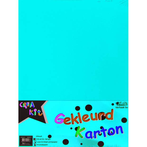 50 x gekleurd A4 karton vellen 160 gr - 50 vellen tekenkarton - Knutselkarton/knutselpapier gekleurd A4 karton