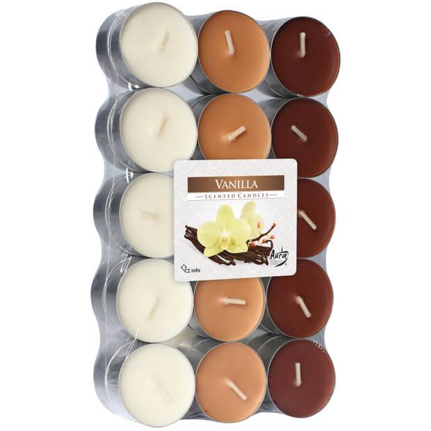 60x stuks Waxinelichtjes/theelichten vanille geurkaarsen 4 branduren - Woon accessoires kaarsen