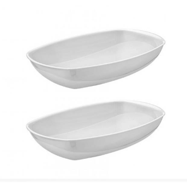 Set van 2x stuks witte serveerschalen/saladeschalen 29 x 28 cm - Schalen en kommen - Keuken accessoires