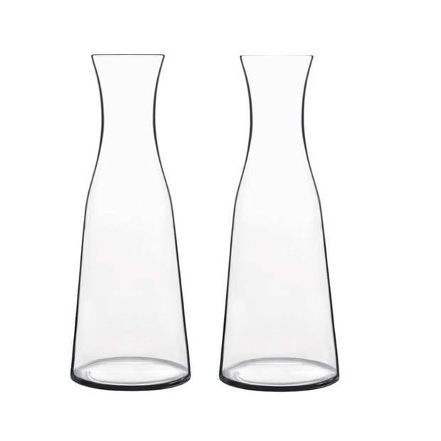 2x Glazen water karaffen van 1 L Atelier - Karaffen