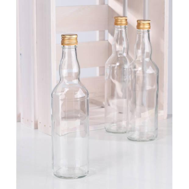 2x Glazen flessen met schroefdop 500 ml - Glasflessen / flessen met schoefdoppen
