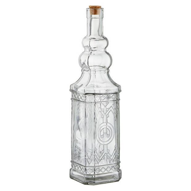 2x Glazen decoratie karaf met kurk 750 ml