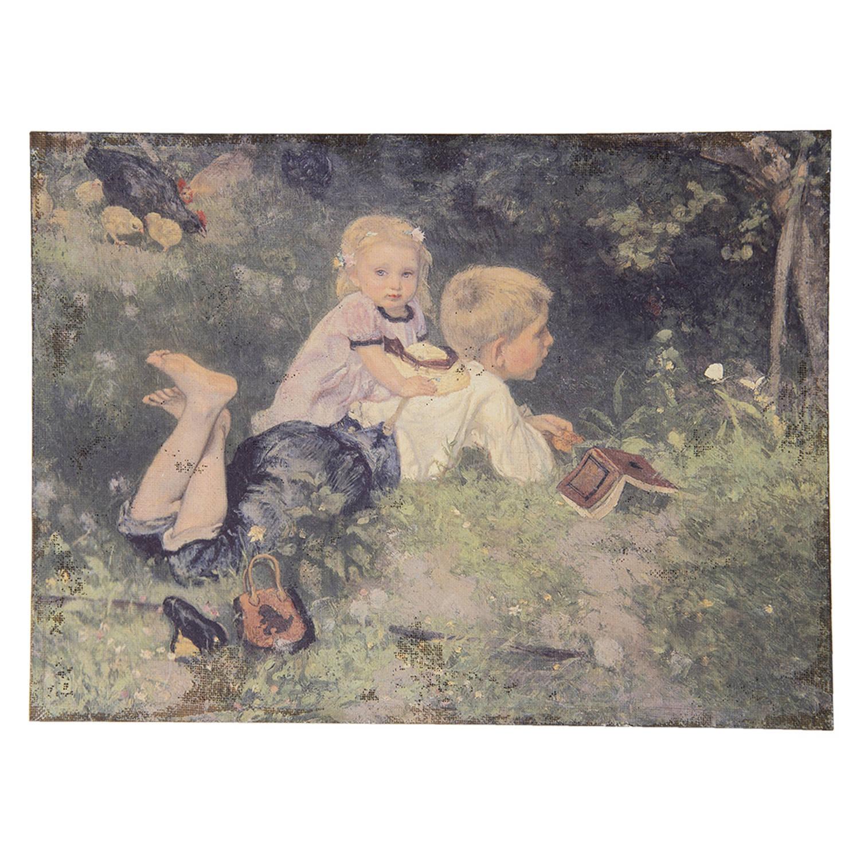 Clayre & Eef Schilderij 50445 73*3*55 Cm - Multi Jute Muurdecoratie