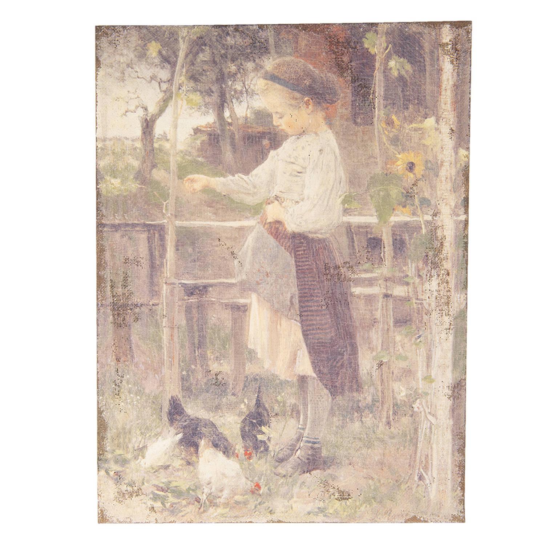Clayre & Eef Schilderij 50451 55*3*73 Cm - Meerkleurig Jute