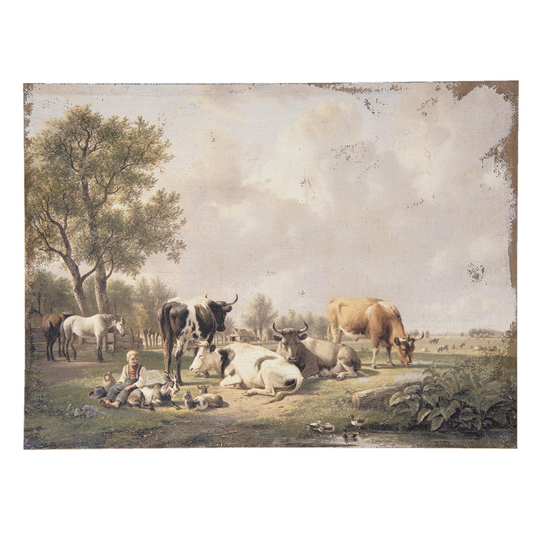 Clayre & Eef Schilderij 50453 73*3*55 Cm - Meerkleurig Jute