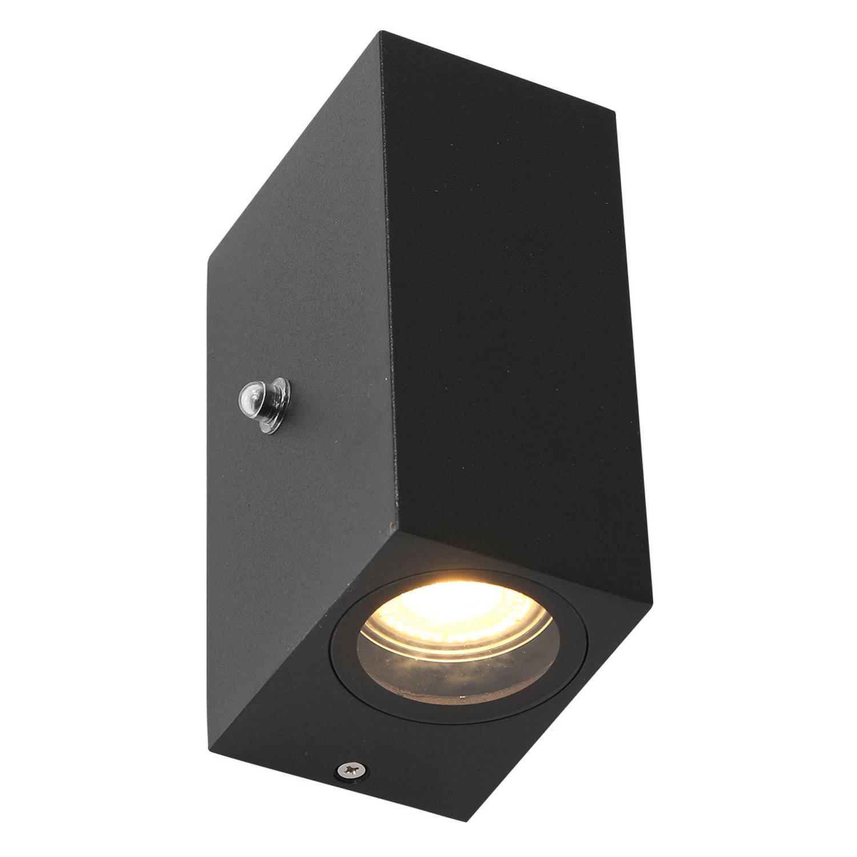 Steinhauer Buitenlamp Logan Vierkant Incl. Led 2 Lichts Dag Nacht Sensor Zwart