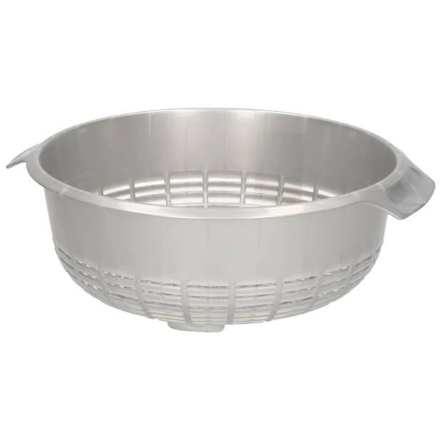 1x Kunststof vergiet zilver - 37 x 23 x 9 cm - Plastic vergieten keuken accessoires