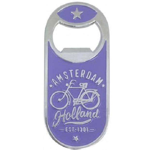 Matix flesopener Amsterdam fiets magnetisch staal paars/zilver