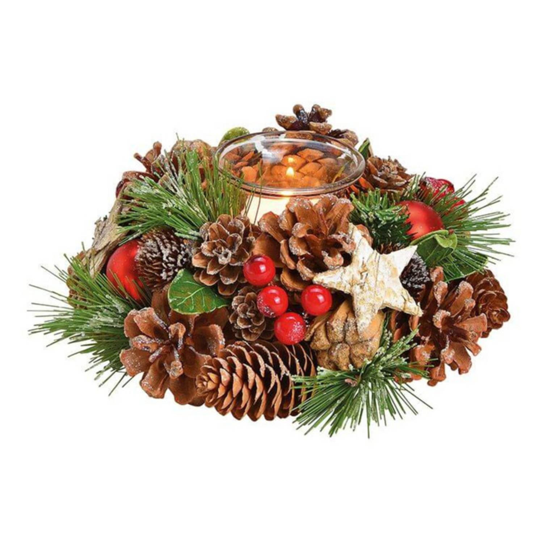 Kerst Tafeldecoratie Kerststukje Krans Met Windlichtje 17 Cm Kerstversiering-kerstdecoratie
