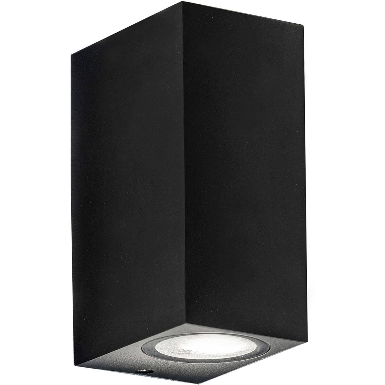 Led Tuinverlichting - Buitenlamp - Sanola Hoptron Xl - Gu10 Fitting - Vierkant - Mat Zwart - Alumini