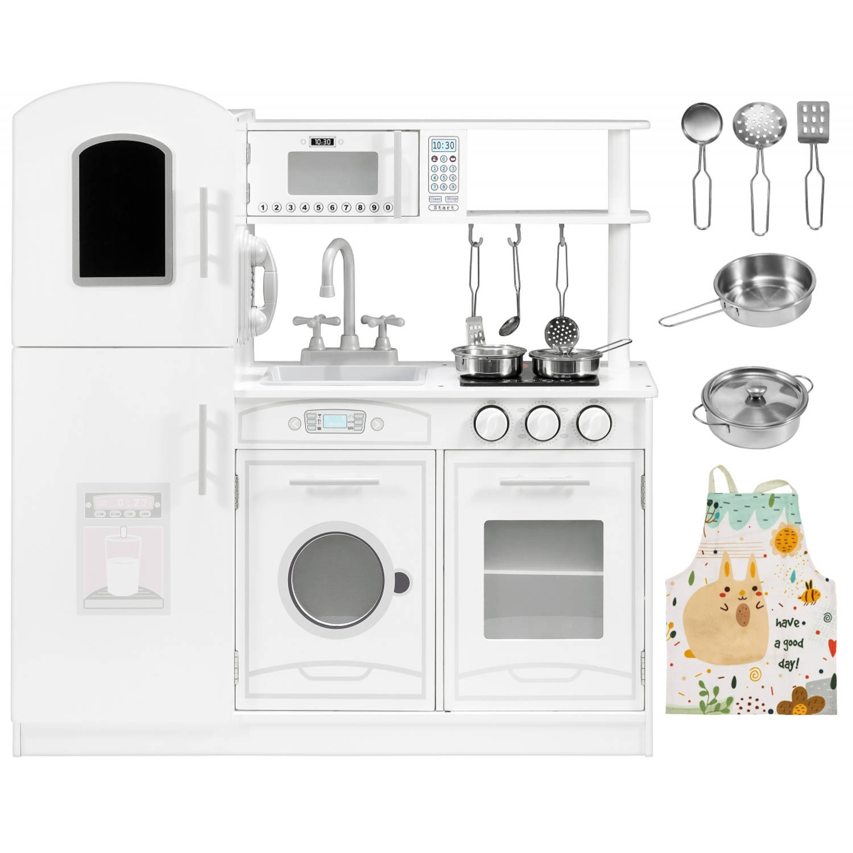 Mamabrum Houten Witte Speelgoedkeuken Met Accessoires En Schort