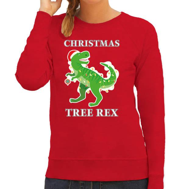 Christmas tree rex Kerstsweater / Kerst trui rood voor dames - Kerstkleding / Christmas outfit XL
