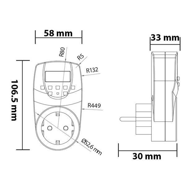 Tijdschakelaar - Digitale Schakelklok - 3500W - Wit NIET Geschikt voor België