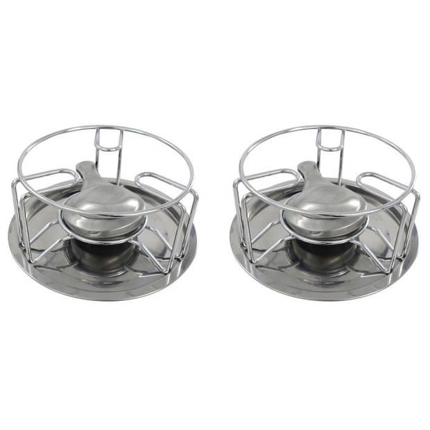 Set van 2x stuks rechaud warmhouder/warmhoudplaatjes chroom voor theepotten/pannen - Warmhouders/rechaudplaat