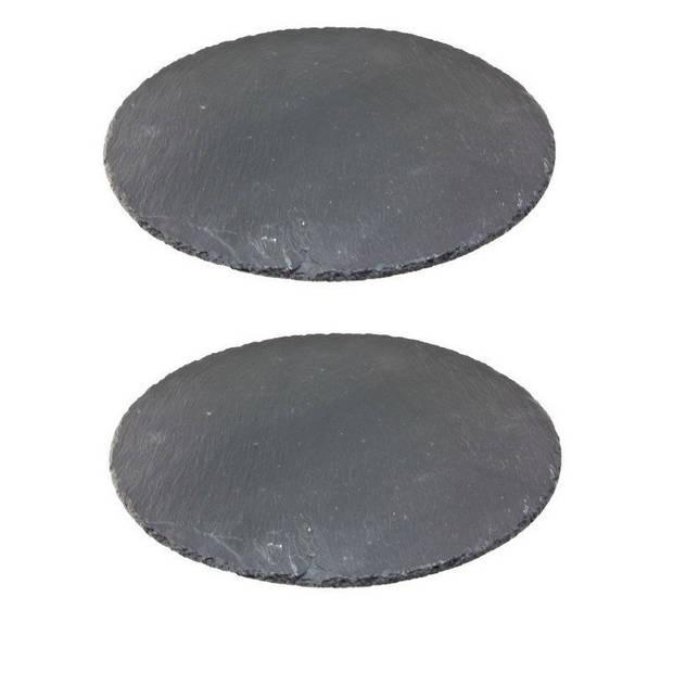 2x Leisteen serveerplanken/onderzetters 30 cm rond - Kaarsenplateaus - Hapjesplanken - Tapas - Kaasplankjes