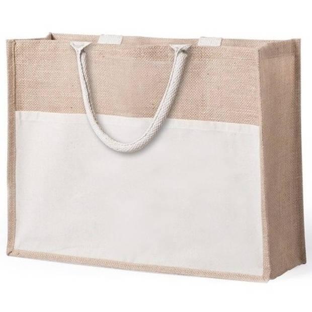 Jute/katoenen naturel shopper/boodschappen tas 44,5 cm - Stevige boodschappentassen/shopper bag