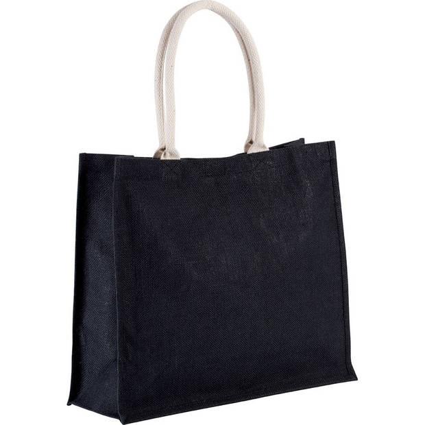 Jute zwarte shopper/boodschappen tas 42 cm - Stevige boodschappentassen/shopper bag