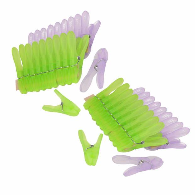 80x Grote wasknijpers / wasspelden kunststof met metalen veer van 8.5 cm - huishoudelijke producten - knijpers