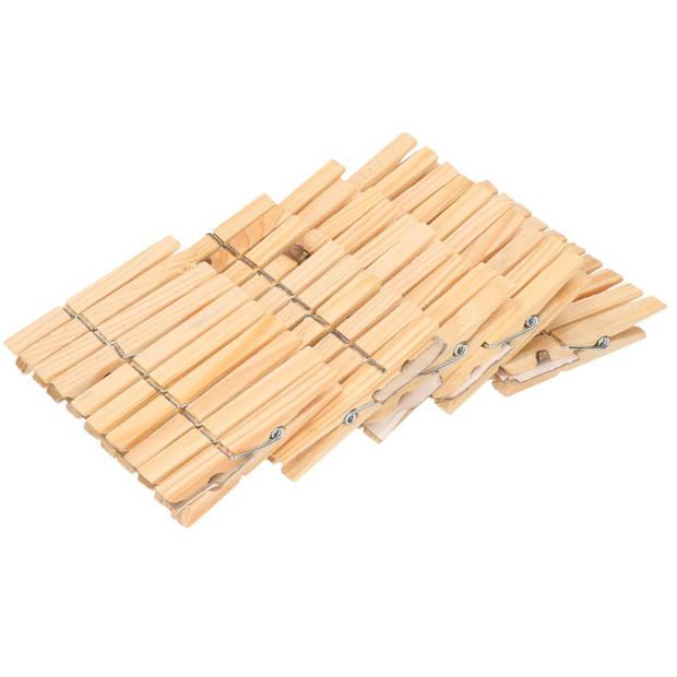 Wasknijpers tasje met haak en 200 stuks houten wasknijpers - Was ophangen - handige huishouden artikelen