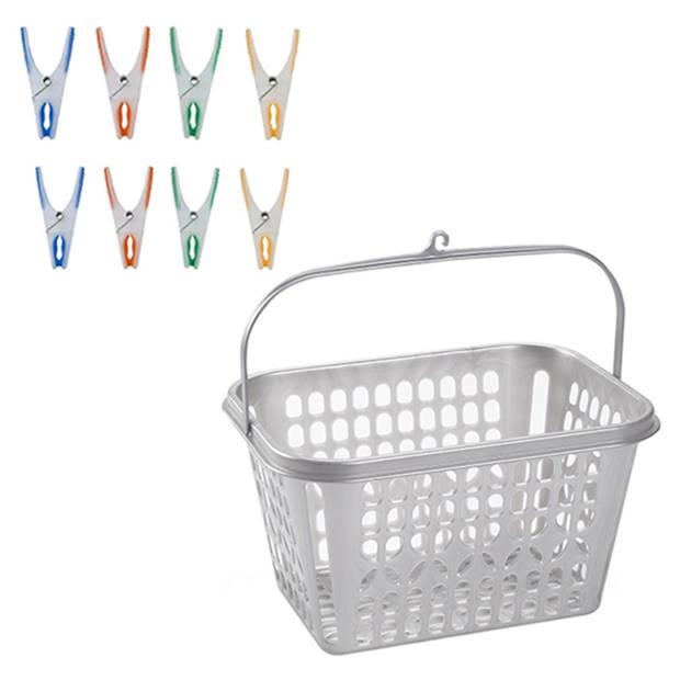 Wasknijpersmandje met haak en 72 stuks stevige plastic softgrip wasknijpers - Was ophangen handige artikelen