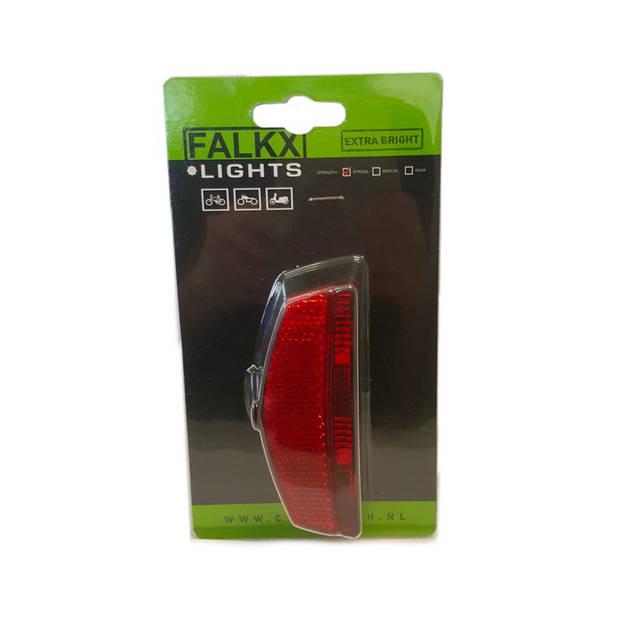 Falkx achterlicht 2 leds batterijen 80 x 50 mm rood