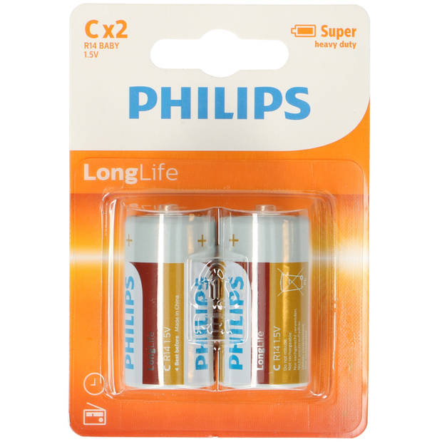 8x Philips Long Life LR14 C-batterijen 1,5 Volt - Altijd handig in huis - Batterijen