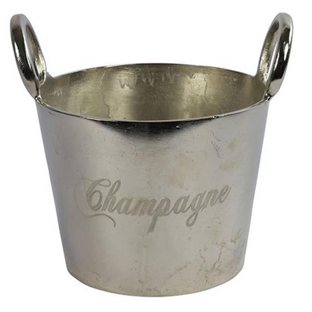Luxury label wijnkoeler Champagne 29 cm metaal zilver