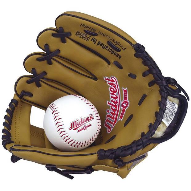 Midwest honkbalhandschoen met bal linkerhand junior 23 cm bruin