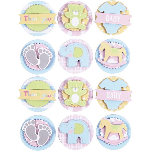 Happy Moments 3D stickers baby 35 x 5 mm 12 stuks